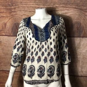 Lucky Brand Women Blouse Ivory Wine Navy Floral XS